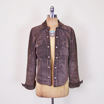 Brown Suede Jacket Brown Leather Jacket Western Shirt Jacket Pearl Snap Shirt 90s 70s Jacket 70s Hippie Jacket Boho Jacket S Small M Medium