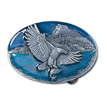 Eagle Catching Fish Enameled Belt Buckle