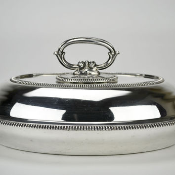 Silver Plated Hot Food Serving Bowl and Lid Antique English circa 1900