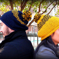 Combo...Valentine's day hat,yellow-blue hat,two handmade hat,slouchy hat,slouch beanie,men hat,women hat,unisex hat,winter accessories
