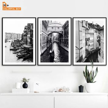 COLORFULBOY Paris Building Landscape Wall Art Canvas Painting Black White Posters And Prints Wall Pictures For Living Room Decor
