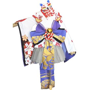 Yuki Onna Cosplay Onmyoji Japanese Snow Fairy Idolized Kimono cosplay costume with socks and hair accessory