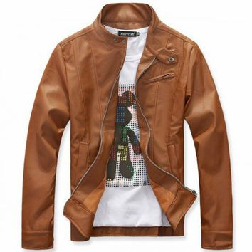 Stand Collar Faux Leather New Style Brown Men OutWear M/L/XL/XXL@dat0105br