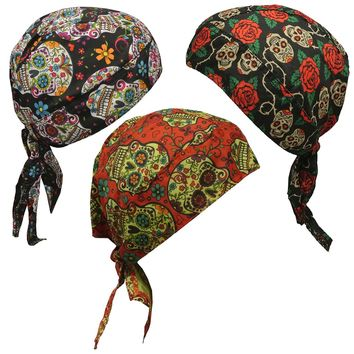 Skull Caps - Set of 3 Sugar Skull Doo Rags Head Wraps Hat