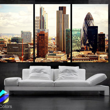 """LARGE 30""""x 60"""" 3 Panels Art Canvas Print beautiful London Skyline buildings lights sunset Wall Home (Included framed 1.5"""" depth)"""