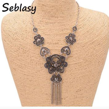 Seblasy Vintage Punk Big Long Statement Chains Hearts Flowers Tassel Necklaces Pendants for Women Turkish Tibet Silver Color