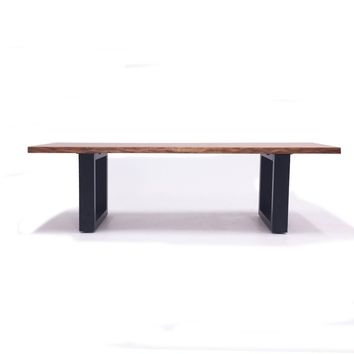 Lance Modern Live Edge Ash Wood Dining Bench