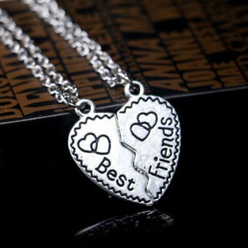 "2 Part ""Best Friends"" Broken Heart Pendant Chain Necklace Jewelry For Women + Gift Box"