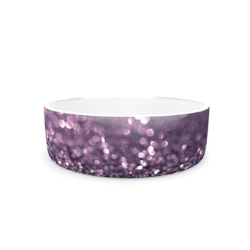 "Debbra Obertanec ""Lavender Sparkle"" Purple Glitter Pet Bowl"