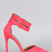 Liliana Neon Pointy Toe Ankle Strap Pump