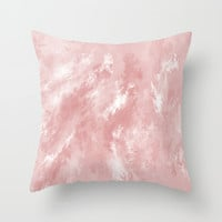Pale Pink Haze Throw Pillow by Colorful Art