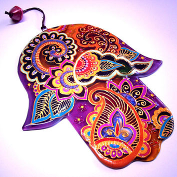 Handmade HAMSA  glass fusing techniques gift lovers fathers mothers sister brothes hasband family friend amulet talisman