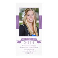 2014 Chevron Purple Graduation Photo Card