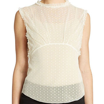 Free People Dot Mesh Mockneck Camisole