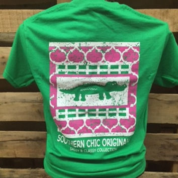 Southern Chics Sassy Classy Collection Preppy Gator Alligator Distressed Bright T Shirt