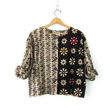 BATIK Shirt Cropped Button Up Blouse tan & black TRIBAL Vintage revival Graphic Ethnic print Cotton Bohemian Chic womens size Small Medium