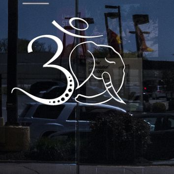 Window decor for Business Wall Decal Om Symbol Elephant Head Hinduism Hindu Stickers Unique Gift (ig4732w)