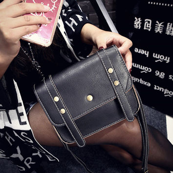 Korean Vintage Stylish Simple Design Rivet One Shoulder Bags [6583133127]