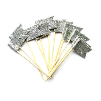 12 Silver Glitter Flag Cupcake Toppers - Washi Tape Cupcake Toppers, wedding, engagement, birthday, baby shower, tea party