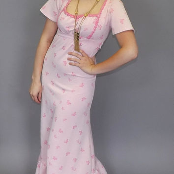 Vintage 1970s Prairie Pink Prom Dress Butterfly Print Floral Embroidered Maxi Dress Enchanted Princess Gown Fairy Tale Dress Ruffled