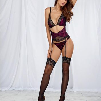 Dreamgirl Satin Teddy w/Lace Overlay Raspberry/Black