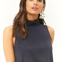 Dot Print Mock Neck Top