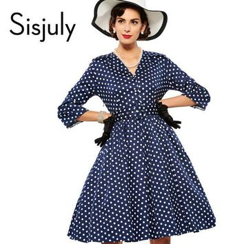ESBONEJ Sisjuly women vintage dress polka dot elegant party dress style 1950s