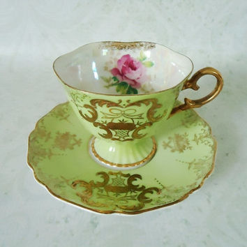 Royal Halsey Lime Green Opalescent Teacup and by SwirlingOrange11