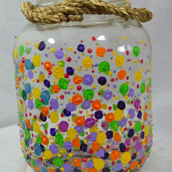 Painted Glass Vase w/ 3D paint and Polka Dot Design