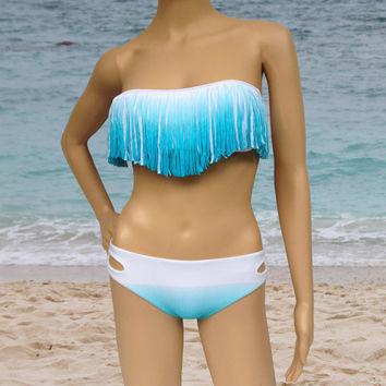 blue white gradient ( 3 colors ) 2PC Tassel Padded Bandeau Fringe Bikini Beach Women Swimsuit Swimwear set