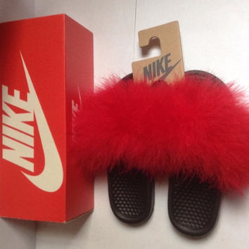 Red faux fur nike slippers