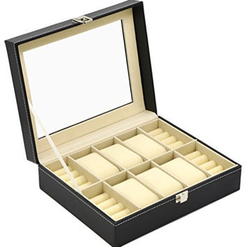ADTL Black Leather Watch Box with Ring Cufflink Jewelry Display Storage Clearance Window