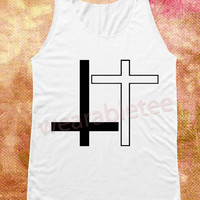 Black Inverted Cross TShirts White Inverted Cross Shirts White Shirts Unisex Shirts Vest Women Tank Top Shirts Women Sleeveless Singlet