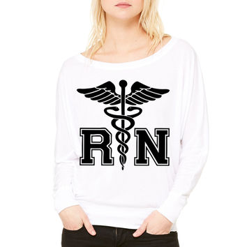 RN Registered Nurse WOMEN'S FLOWY LONG SLEEVE OFF SHOULDER TEE