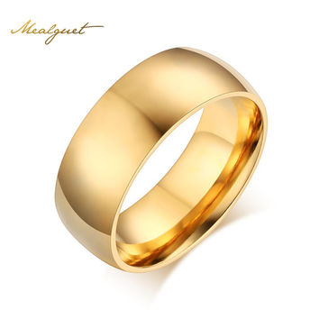 Meaeguet Simple Gold-Color Ring Stainless Steel Wedding Jewelry Engagement Rings For Women Men USA Size