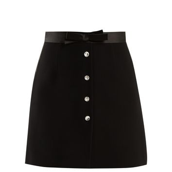 Clear crystal-embellished cady skirt | Miu Miu | MATCHESFASHION.COM UK