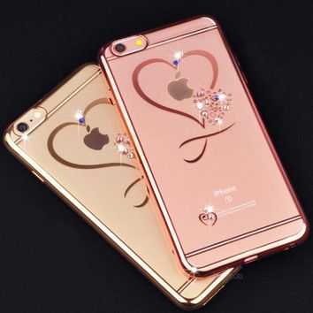 iphone X Capa Gold Plating Glitter Diamond Luxury Case For iphone6 6S/6SP 7/7P 8/8P 5.5 Slim Crystal Clear Love Soft Cover
