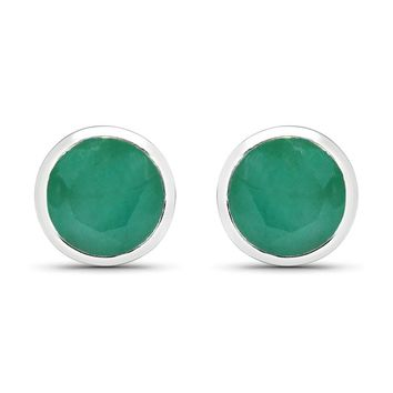 LoveHuang 1.35 Carats Genuine Emerald Round Bezel Stud Earrings Solid .925 Sterling Silver With Rhodium Plating