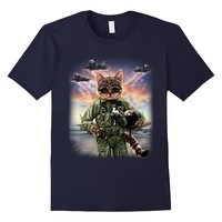 T-Shirt- Cat Impersonate US Air Force F20 Raptor Pilot