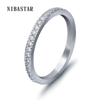 New Fashion Full Small CZ Zircon Channel Setting Stainless Steel Engagement Rings For Women