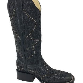 ICIKAB3 Corral Black Full Overlay & Studs Square Toe Boots