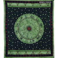 Green Hindu Astrology Horoscope Zodiac Bohemian Hippie Tapestry Wall Hanging on RoyalFurnish.com