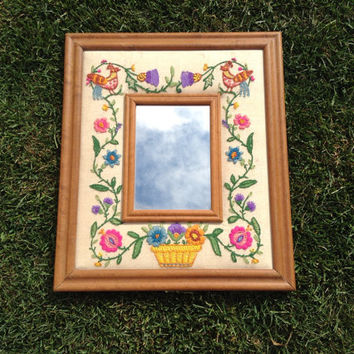 80's Kitschy embroidered rooster country floral frame mirror bridal shower House warming gift