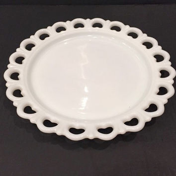 Medium Torte Plate in Lace Edge-Milk Glass by Anchor Hocking