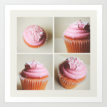 Strawberry Cupcakes  Art Print by Allyson Johnson