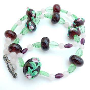 Wedding Cake, Bead Necklace, Lampwork, Molded Glass, Purple Green Pink, Artisan Bead Necklace