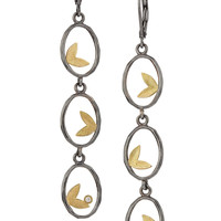 Framed Leaf Trio Earring by Jamie Cassavoy (Gold, Silver & Stone Earrings) | Artful Home