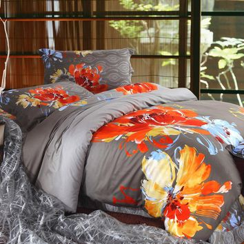 2017 winter bedding set Bohemia style duvet cover set 100% cotton heavy brushed bed set 4pcs queen king size 3D reactive printed