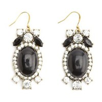 Smooth & Faceted Rhinestone Statement Earrings - Black