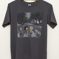 Junk Food Peanuts Abbey Road Adult Black Wash T-Shirt - Peanuts - | TV Store Online